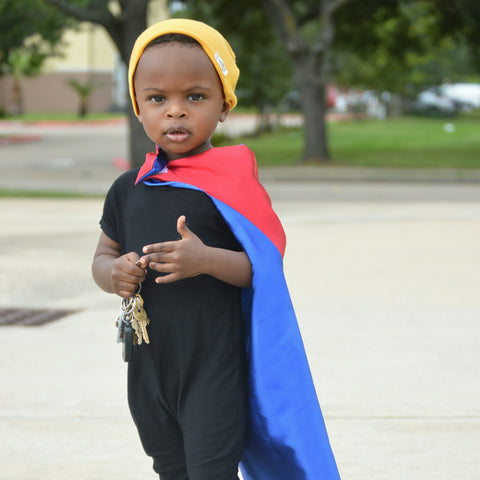Pip and Bean Plain Blue and Red Superhero Cape