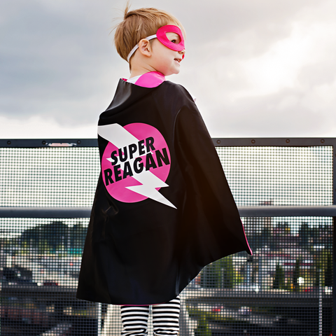 Pip and Bean Pink and Black Superhero Lightning Bolt Emblem Cape - PERSONALIZE with your name
