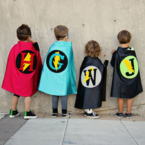 Pip and Bean Black and Grey Personalized Superhero Cape with Lightning Bolt