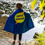 Blue and Lime Superhero Lightning Bolt Emblem Cape - Personalize w/ your name!