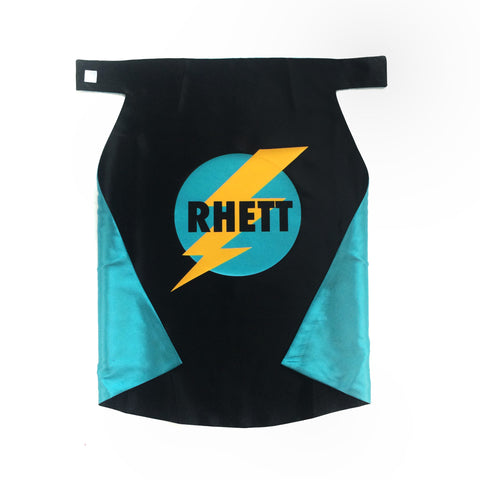 Pip and Bean Black and Turquoise Superhero Cape w/ Lightning Bolt Emblem - Personalized
