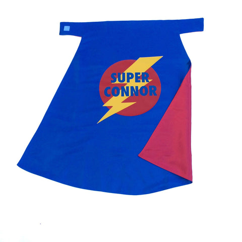 Pip and Bean Blue and Red Superhero Cape with Lightning Bolt Emblem - Personalize with your name
