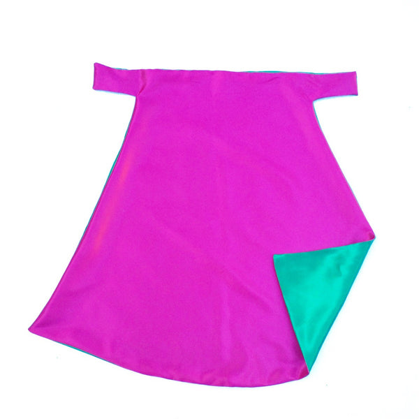 Hot Pink and Kelly Green Plain Superhero Cape