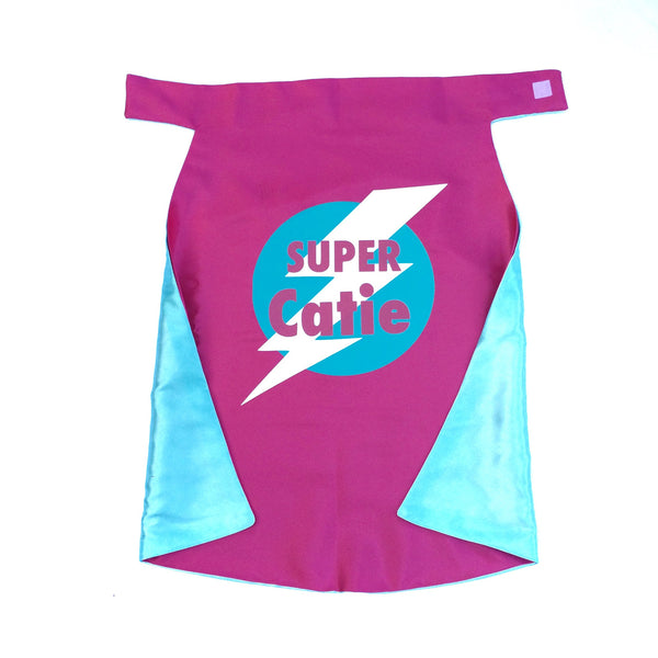 PINK and TURQUOISE Superhero Lightning Bolt Emblem Cape - PERSONALIZE with your name