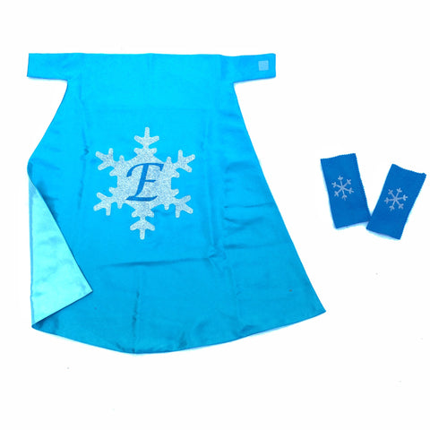 Pip and Bean Frozen Personalized snowflake glitter cape and snowflake bands