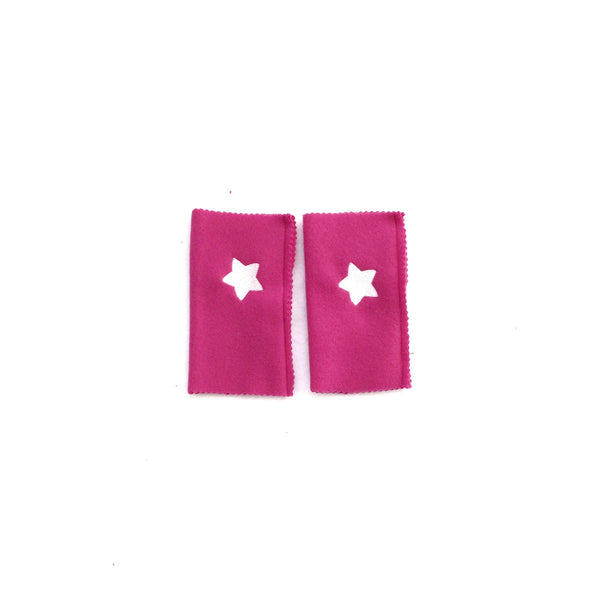 Deluxe Hot Pink Superhero White stars ARMBANDS - Superhero ACCESSORY gift - Super hero cape birthday accessory
