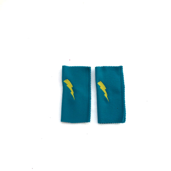 Deluxe Turquoise Superhero Lightning bolt ARMBANDS - Superhero ACCESSORY gift - Super hero cape birthday accessory