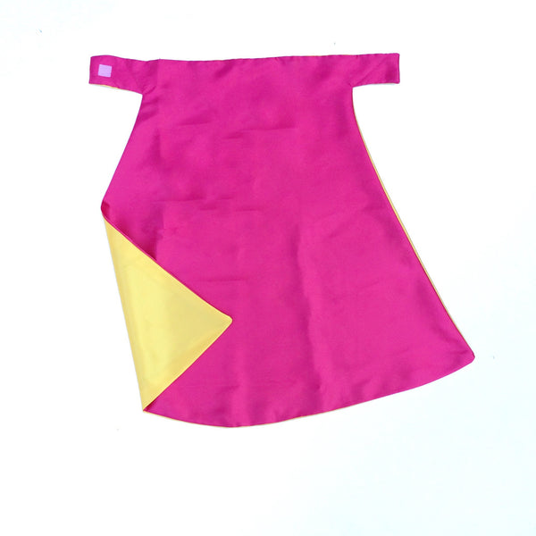 Hot Pink and Yellow Plain Superhero Cape