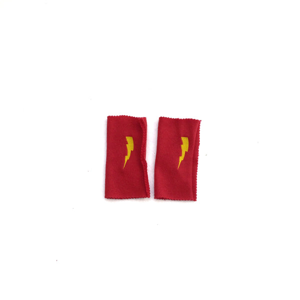 DELUXE RED Superhero Lightning bolt ARMBANDS - Superhero Accessory gift - Super hero cape birthday accessory