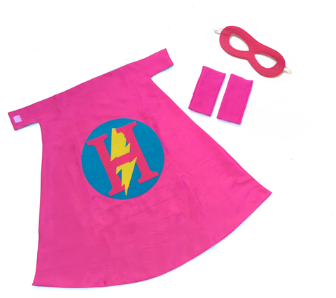 Pip and Bean Basic Personalized Superhero Set Hot Pink and Turquoise