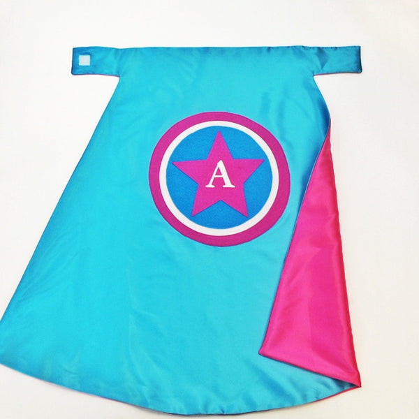 Turquoise and Hot Pink America Cape - Superhero costume dress-up imaginary play