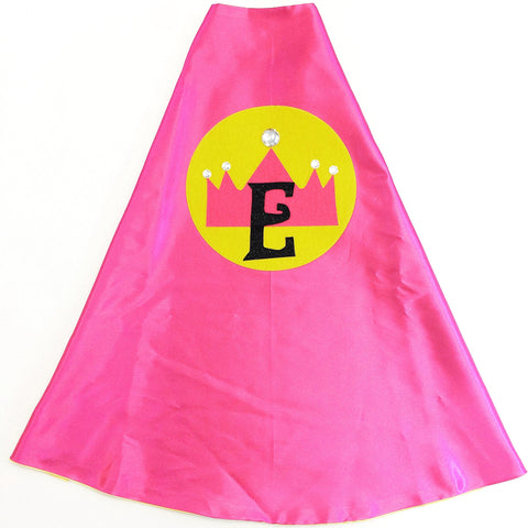 Hot Pink and Yellow Personalized Princess Cape with Jeweled Crown
