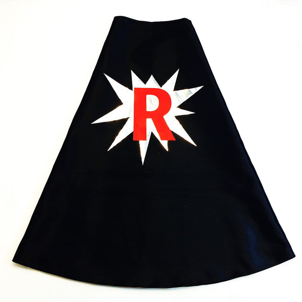 Black Superhero Cape with Metallic Silver POW and Personalized Letter
