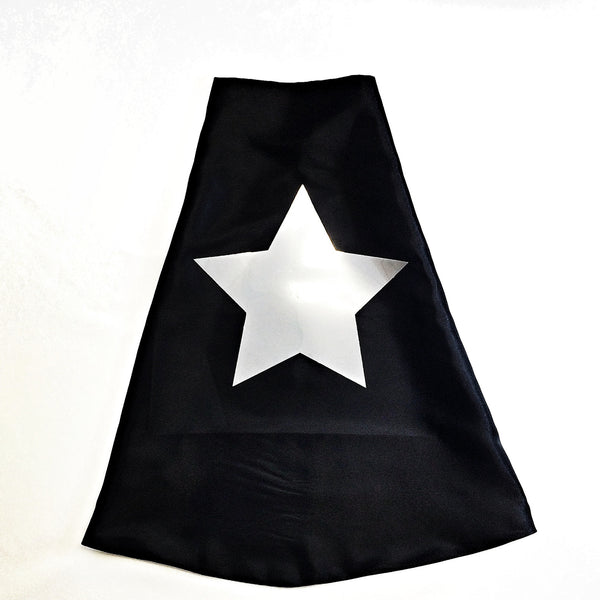 Black Superhero Cape with Metallic Silver Star - Double Sided