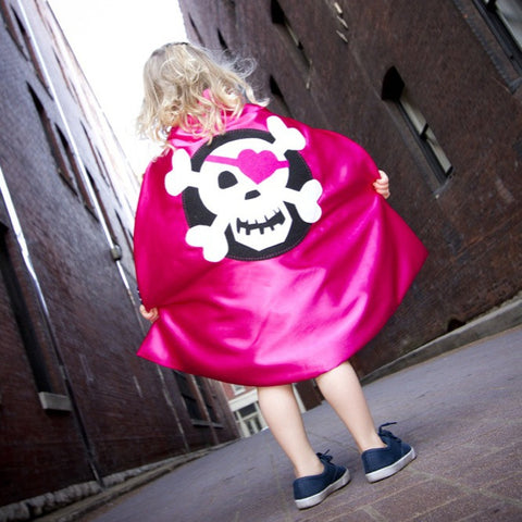 Pip and Bean Hot Pink Pirate Cape - Skull and Crossbones with Heart Eyepatch