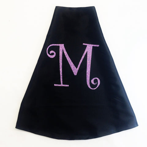 Pip and Bean Black Superhero Cape with Curly Glitter Letter