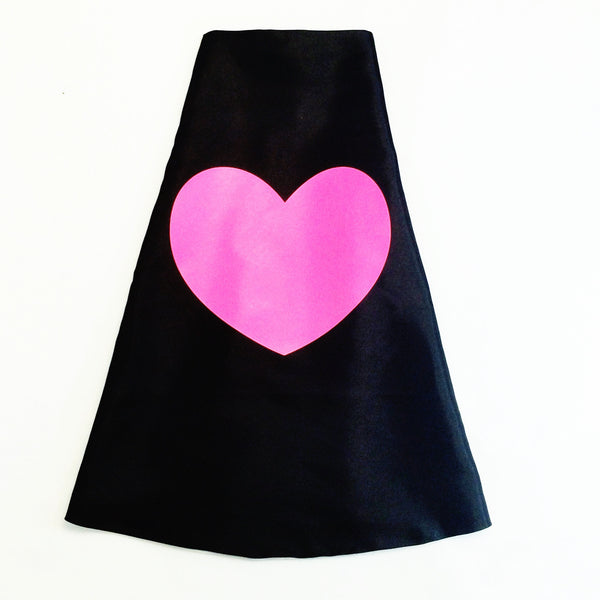 Black Superhero Cape with Neon Pink Heart - Double Sided