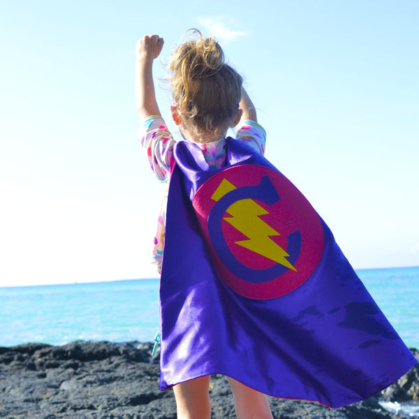 Purple and Hot Pink Personalized Superhero Cape with Lightning Bolt