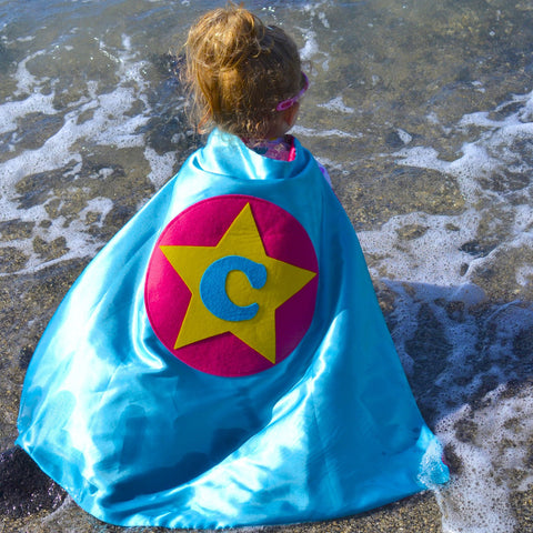 Pip and Bean TURQUOISE and Hot PINK PERSONALIZED Rock Star Cape - Personalize with your letter for pretend play