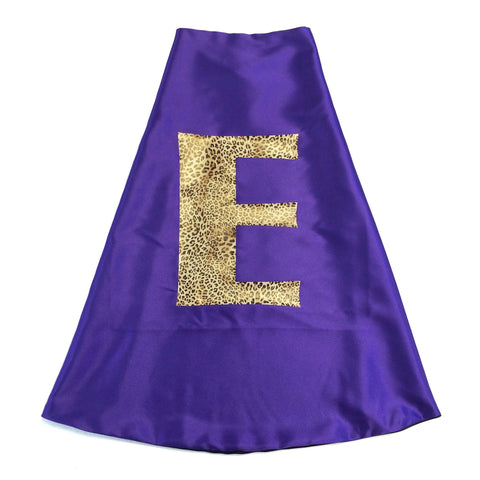 Pip and Bean Purple and Hot Pink Personalized Superhero Cape with Leopard Print Letter