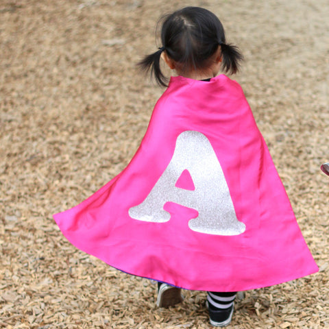 Pip and Bean Hot Pink and Purple Superhero Cape with Sparkle Silver Letter