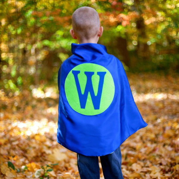Blue and Lime Personalized Superhero Cape