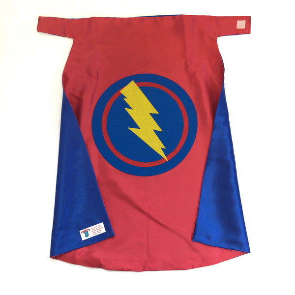 Red and Blue Children's Superhero Lightning Bolt - Cape Double Sided made to order Ships Fast for a great birthday gift