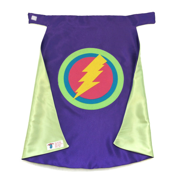 "Purple and Lime Kid's 26"" Superhero Lightning Bolt Cape Double Sided made to order Ships Fast for a great birthday gift"