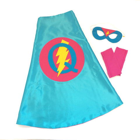 Pip and Bean Turquoise and Hot Pink Personalized Superhero Cape Set