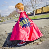 "Red and Blue Superhero cape with POW and METALLIC GOLD Personalized name - Choose your name - long 26"" design - Super fast delivery"