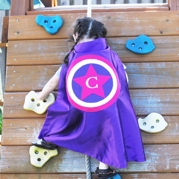 Purple and Hot Pink America style Cape - Superhero costume for dress-up or pretend play