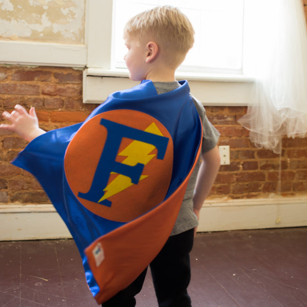 Blue and Orange Personalized Superhero Cape with Bolt