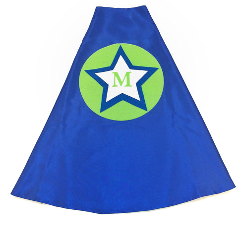 Pip and Bean Blue and Lime Green Rock Star Cape with Personalized Letter