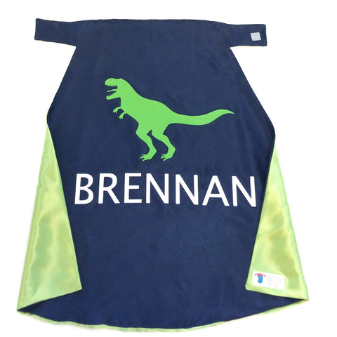 Pip and Bean Blue and Lime Tyrannosaurus Rex Cape - Personalized with Your Name
