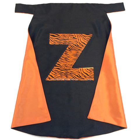 Pip and Bean Orange and Black Superhero Cape with Bengal Tiger Print Letter