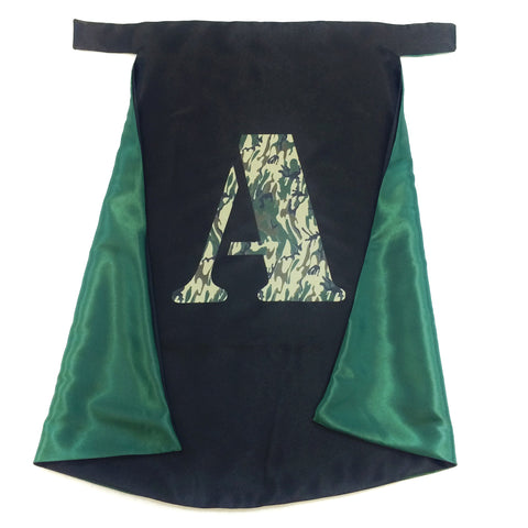 Pip and Bean Black and Green Cape with Camouflage Letter