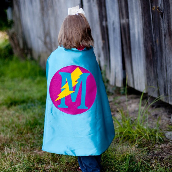Turquoise and Hot Pink Personalized Superhero Cape with Lightning Bolt