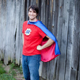Blue and Red Adult Superhero Cape Blank or Personalized -  Cape for Sports Fan or Birthday