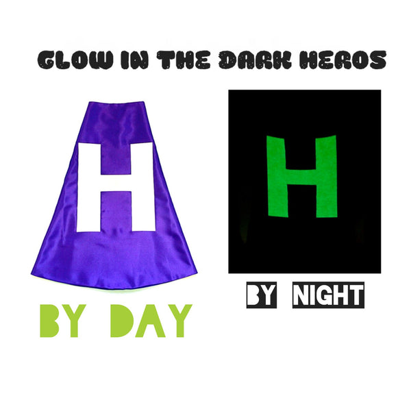 Purple and Hot Pink Superhero Cape with Glow-in-the-Dark Letter