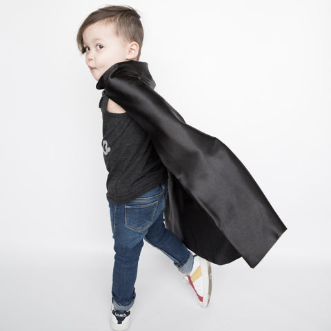 Pip and Bean Plain Black Superhero Cape - Evil Villain Costume