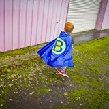 Blue and Lime Green Superhero Cape with Personalized Letter and Lightning Bolt