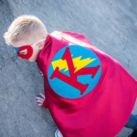 Pip and Bean Red and Turquoise Personalized Superhero Cape - Reversible