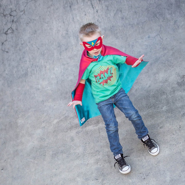 Red and Turquoise Superhero Cape for Boys and Girls