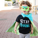 Turquoise and Lime Personalized Superhero Cape with Bolt