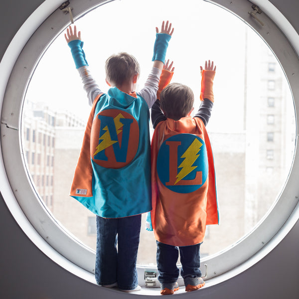 Turquoise and Orange Personalized Superhero Cape with Bolt