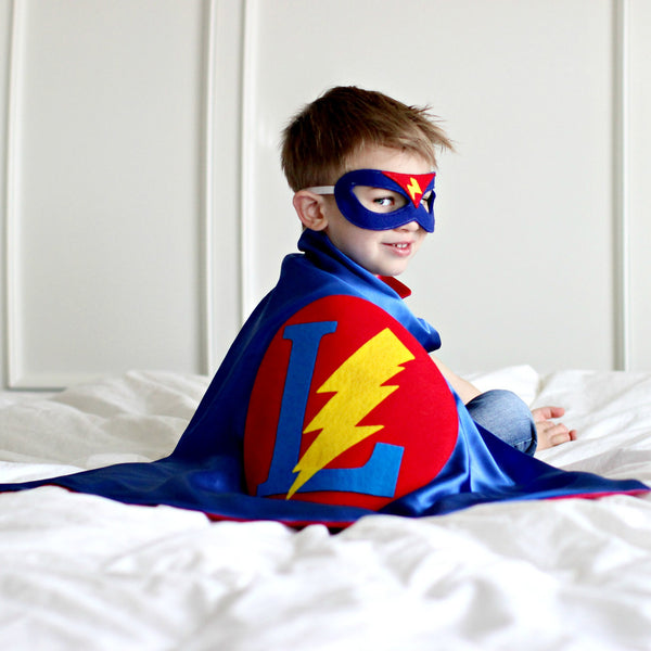 Personalized Superhero Cape with Bolt - Blue and Red