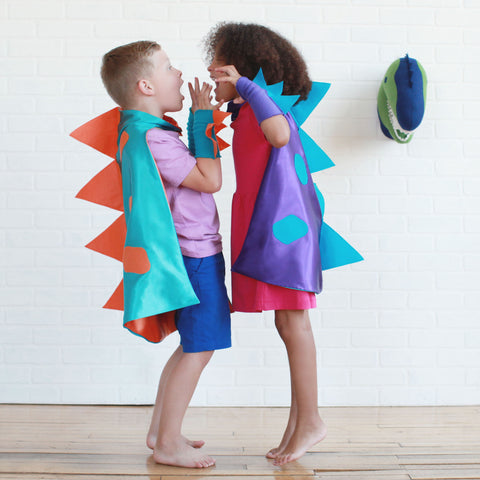 Dinosaur Cape Costume with 3D spikes for Children and Adults