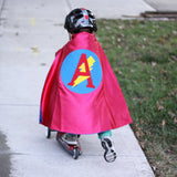 Red and Blue Personalized Superhero Cape with Lightning Bolt