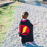 Black and Red Personalized Superhero Cape with Bolt