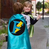 Turquoise and Black Personalized (custom letter) Superhero Cape with Bolt